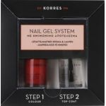 Korres Nail Gel System Βερνίκι Νυχιών με Ημιμόνιμο Αποτέλεσμα σε Απόχρωση Classic Red, 10ml & Top Coat, 10ml