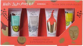Korres Multi Shots Play Kit - Ολοκληρωμένο Σετ Σύσφιγξης & Lifting (Scrub Kiwi 18ml + Μάσκα Καθαρισμού Άργιλος 18ml + Μάσκα Goji Berry 18ml + Μάσκα Αγγούρι 8ml)