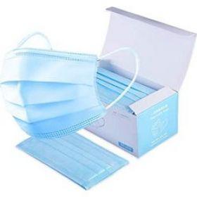 FACE MASK Χειρουργική μάσκα μιας χρήσης 3 στρωμάτων 3ply μπλε με λαστιχακι 1 κουτι 50τμχ